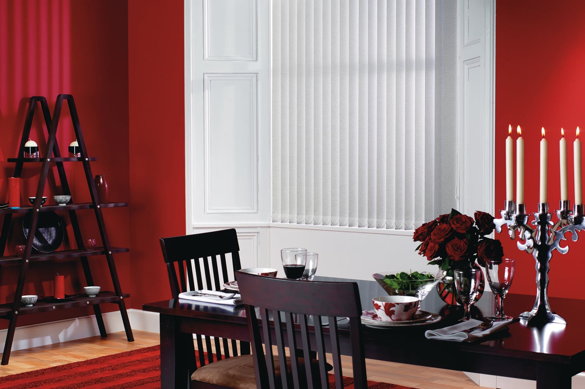 red dining room wth white blinds